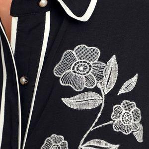 Lulu's Dresses - Nathalia Black & White Embroidered MidiShirt Dress